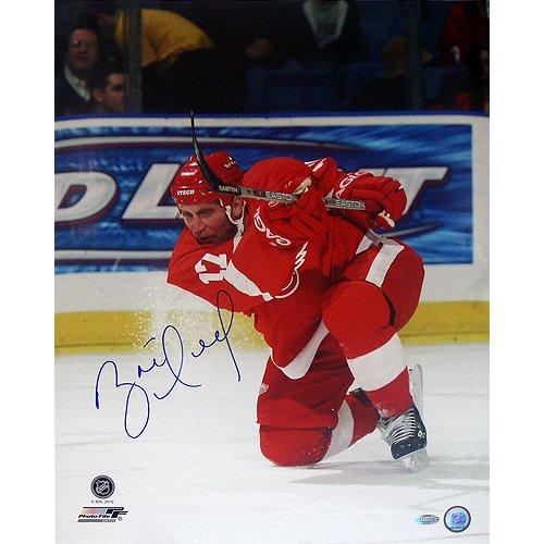 - NHL Detroit Red Wings Brett Hull Red Jersey Slap Shot Vertical Photograph, 16x20-Inch