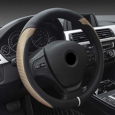 Super PDR Steeing Wheel Cover,Leather Anti-Slip Auto Steering Wheel Cover Universal 15 inch Car Steering (Black&Gold): Automotive