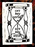 5 x 7 Black Ink Print - Hourglass Stephen King Quote - Original Handcrafted Linoleum Cut Art Print by Philip Crow (Unframed)