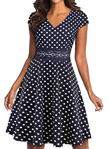 (YATHON Work Dresses for Women Vintage Polka Dot Navy Blue V Neck Knee-Length Embroidery Patchwork Fit and Flare Summer Party A Line Swing Casual Dresses (S, YT009-Navy)