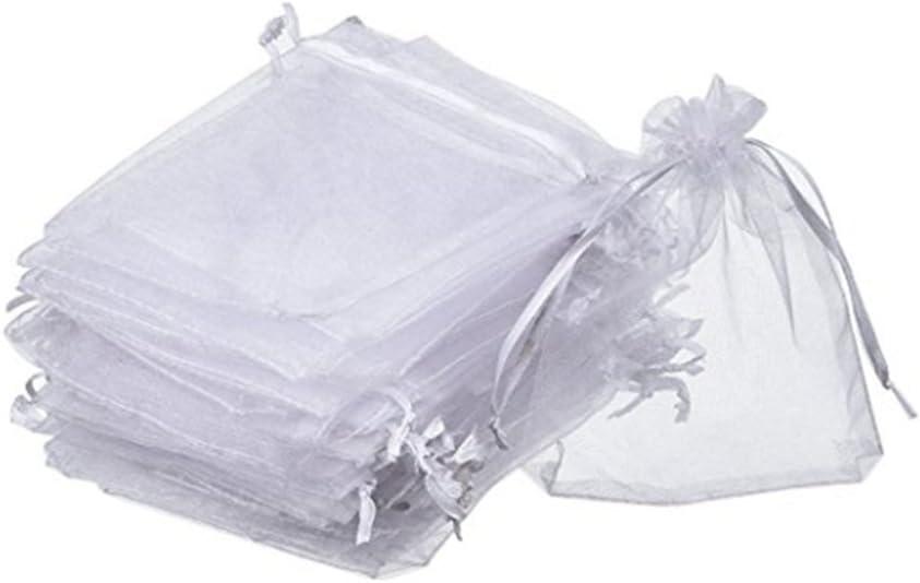 Jalea para Decoraci/ón Del Banquete Boda Fiesta Blanco Caramelo Joyer/ía 100 Pcs Bolsas de Organza blanca 8 x 10CM de Regalo Chocolate