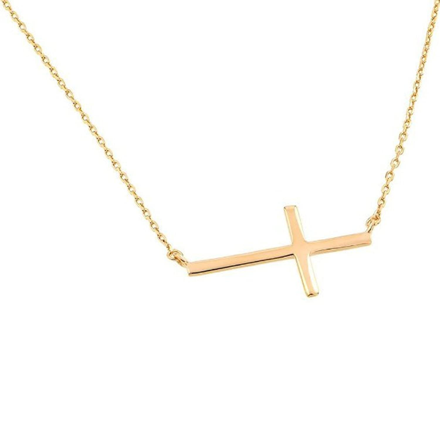 "High Polished 14K Solid Yellow Gold Sideways Cross Necklace with Rolo Link Chain - 18"" inches"