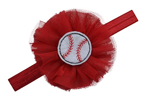 Baseball Headband for Babies and Toddlers with TULLE Flower and Felt Baseball Funny Girl Designs (0 to 12 Months (Baby), Red)