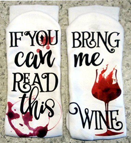 If You Can Read This Bring Me Wine! Lounge Socks Full Color Design ()
