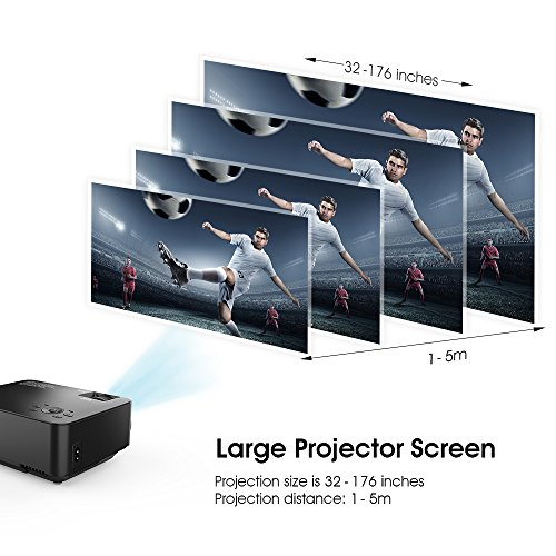 SPACEKEY Mini Portable Projector Multimedia Home Theater Video Projector Support 1080P with HDMI, USB, VGA, AV ports for Home Cinema, Black
