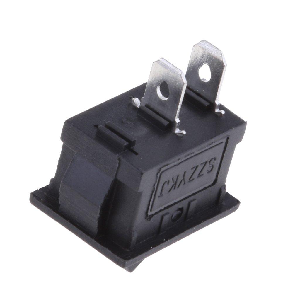 D DOLITY 15Pcs//set On-Off Rectangle 2 Pin Rocker Switch AC 6A//250V 10A//125V DPST Boat