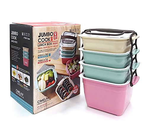 JUMBO 4 Stages Lunch Bag  Bento Boxes Microwave Cookware Pic
