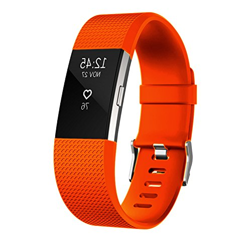 Fitbit Charge 2 Bands, orange Silicone Bands with Metal Buckle / Replacement Sport Strap for Fitbit Charge 2 large size