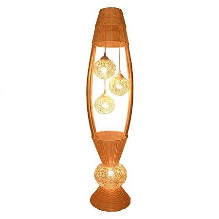 Lámparas de pie Lámpara de pie de Mimbre de diseño de Mimbre con ...