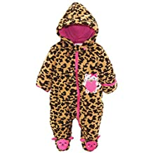 Duck Goose Baby Girls Cute Little Kitty Plush Footed Ear Snow Pram Suit, Pink, 3-6 Months