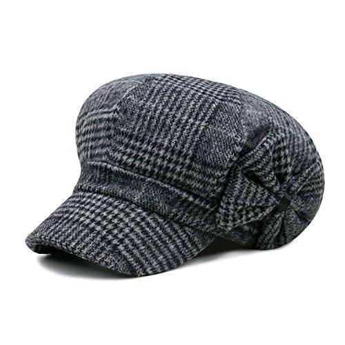 Baker Boy Hat Woman Newsboy Cap Bow Tweed England Style Beret Herringbone Spring Painter Hats,Black Gray Plaid