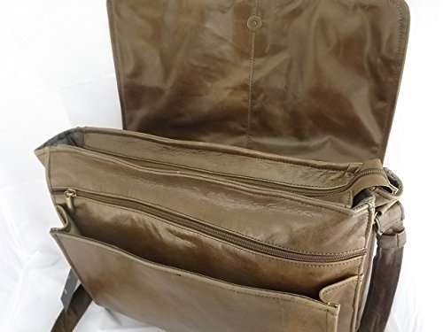 borsa tracolla in pelle cuoio L38xH36xP10 cm mod Borsa da postina zip brown tamponato
