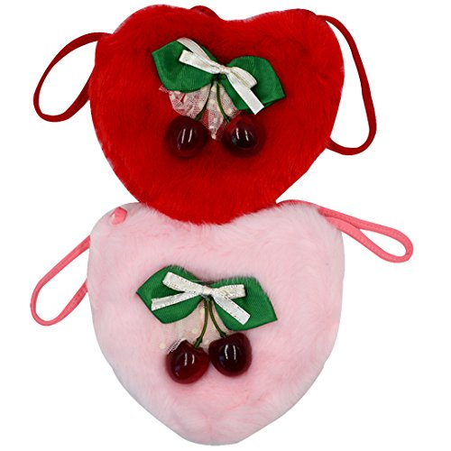 2PCS Little Girls Princess Heart Shape Faux Plush Crossbody Bag Clutch Purse With Bowknot Cherry Decor(Red+Pink) (Heart Girl Wallet)