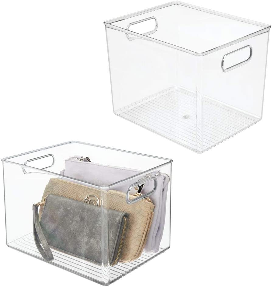 mDesign Plastic Home Storage Basket Bin with Handles for Organizing Closets, Shelves and Cabinets in Bedrooms, Bathrooms, Entryways and Hallways - 2 Pack - Clear