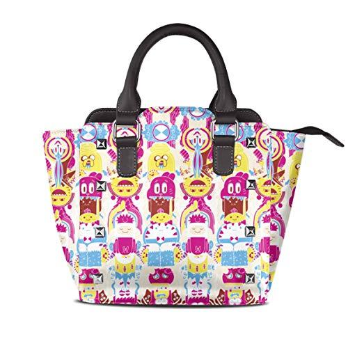 Cartoon Adventure Time Leather Rivet Shoulder Bag For Women