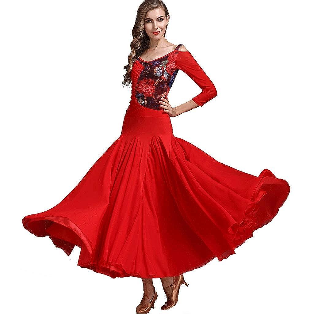 レース社交ダンスワルツ パフォーマンス/トレーニング ドレス モダン 社交ダンス プリーツスイングスカート レッド XL