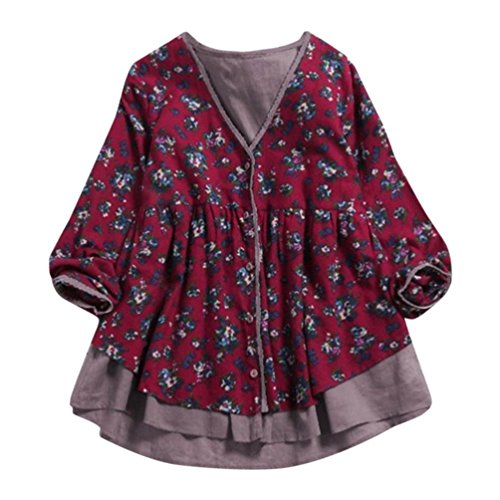 Clearance! Women Blouse Daoroka Ladies Cotton Linen Long Sleeve V-Neck Print Double-Layer Fake Two Pieces Autumn Winter Casual Loose Tunic Tops Long Fashion Pullover T Shirts by Daoroka Women Blouse