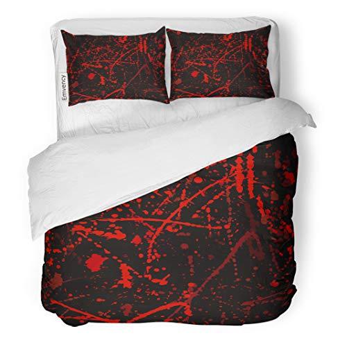 Semtomn Decor Duvet Cover Set King Size Red Horror Blood Stains Halloween Splatter Criminal Scene Abstract 3 Piece Brushed Microfiber Fabric Print Bedding Set Cover -