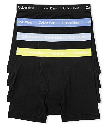 Calvin Klein Men's Underwear 4 Pack Cotton Classics Boxer Briefs, Black/Winter Chartreuse/Flint Grey/Ultramarine/Black, Medium