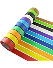 Colorful Masking Tape,Decorative Colored DIY Tape for Arts & Crafts, Labeling or Coding - Art Supplies for Kids - 6 Different Color Rolls