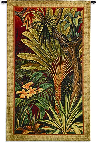 Bali Garden II by John Douglas | Woven Tapestry Wall Art Hanging | Bright Tropical Jungle Foliage on Red | 100% Cotton USA Size 60x35