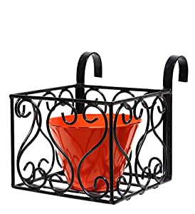Heart Design Iron Railing Holder With Round Metal Planter, Orange and Black - GR7MT04