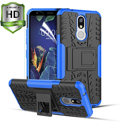 LG K40 Case,LG Harmony 3/Solo LTE/K12 Plus/LG Xpression Plus 2 Phone Case W/[HD Screen Protector]Rugged Kickstand Dual Layer PC & Soft TPU Shockproof Slim Anti-Slip Protective Cover for Men Women,Blue