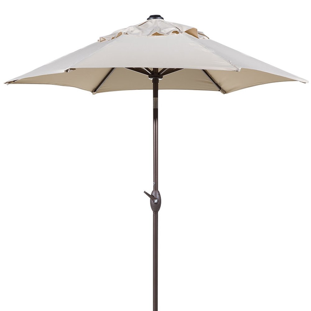 Abba Patio 7-1/2 ft. Round Outdoor Market Patio Umbrella with Push Button Tilt and Crank Lift, Beige