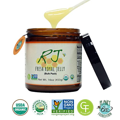 GREENBOW Organic Fresh Royal Jelly - 100% USDA Certified Organic, Pure, Gluten Free, Non-GMO Royal Jelly - One of the Most Nutrition Packed Diet Supplements - Highest Quality Royal Jelly - (453g) by Greenbow