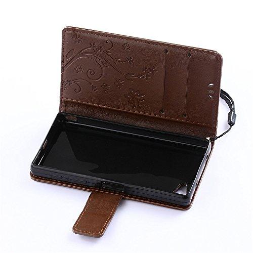 COOLKE Retro Mariposas Patrón PU Leather Wallet With Card Pouch Stand de protección Funda Carcasa Cuero Tapa Case Cover para Sony Xperia Z5 Compact - Rose café marrón