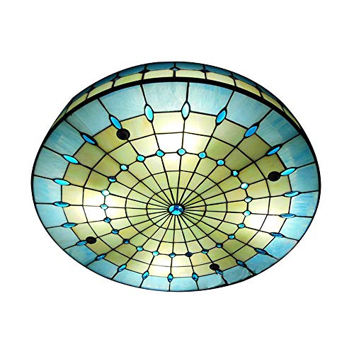 JINGUO Lighting Vintage Hand-Made Tiffany Ceiling Light Colorful and Creative Flush Mount Ceiling Ligh Special Decoration for Bedroom, Living Room, Hotel, Kitchen Blue 19.7inch