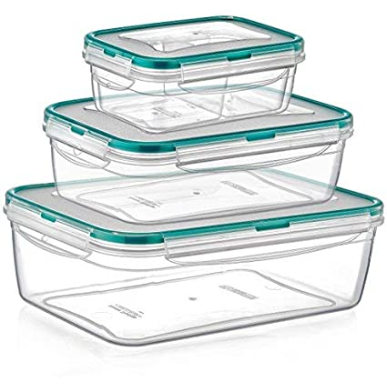 5e0be609e748 PlastArt Fresh Box Combi Set, Multi Piece Rectangle Food Storage Container  Set in Assorted Shapes, 8-Piece, Clear