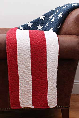 Thro by Marlo Lorenz TH010592001 American Flag Quilted Throw, Red/White/Blue, 50