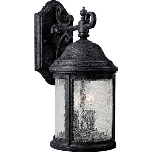(Progress Lighting P5649-31 2-Light Cast Aluminum Wall Lantern with Water-Seeded Glass, Textured Black)