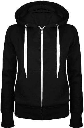 Womens Girls Plain Hooded Zip Up Fleece Hoodie Sweatshirt