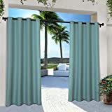 Exclusive Home Indoor/Outdoor Solid Cabana Grommet Top Curtain Panel Pair, Teal, 54x84