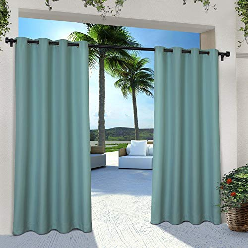 Exclusive Home Curtains Indoor/Outdoor Solid Cabana Grommet Top Curtain Panel Pair, 54×96, Teal, 2 Piece