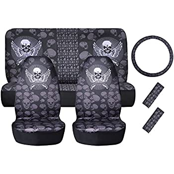 Universal Car Seat Covers For Full Set Skull Styling Protector Front Bucket Rear Bench