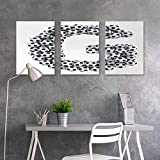 BE.SUN Sticker for Decoration,Letter H,Soccer Balls Arrangement Game Day Theme Abstract Composition with Uppercase H,Modern Decorative Artwork 3 Panels,16x24inchx3pcs,Black and White