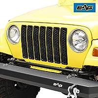 EAG Matte Black Clip-in Grille Honeycomb Insert Cover Fit for 97-06 Jeep Wrangler TJ LJ