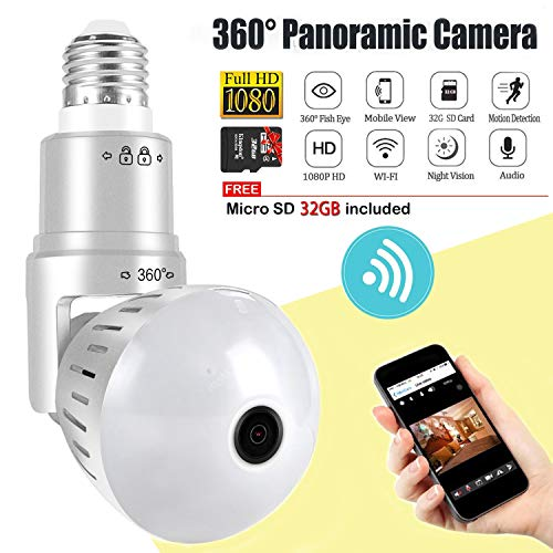 For Sale! Light Bulb Camera,Include 32GB Card 1080P WiFi Security Camera, 2MP Wireles IP LED Cam,360...