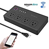 Wifi Smart Power Strip Alexa, Tonbux Surge Protector with 4 USB Charging Ports and 4 Smart AC Plugs for Multi Outlets Power Socket Extension Cord, Voice Controlled by Amazon Echo & Google Home (Black)