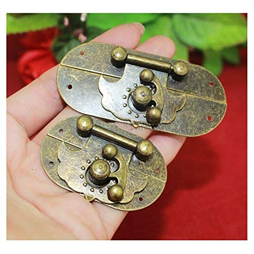 BIG-DEAL_Wholesale Antique Box Latches Decorative Drawer Hasp Jewelry Wooden Box Suitcase Hasp Lock Latch with Screws Vintage Clasp Locks - (Color:S)