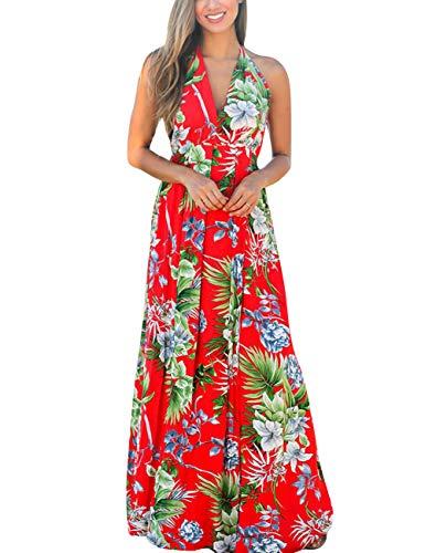 240754e97e50 HOOYON Women's Summer Floral Print Lace Up Backless Deep V Neck Sexy Split Empire  Waist Beach Maxi Dress Red