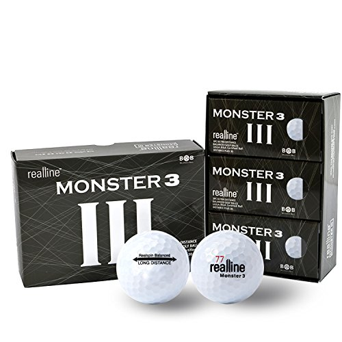 (Monster 3 Ultra Maximum Distance Golf Balls for Driver and Accuracy Balance Aligned Golf Ball for Putt Alignment Precision Putting Green Side Control - USGA R&A Rule Conforming - 6 Count (White) )