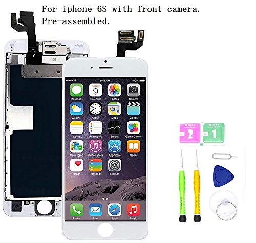 Screen Replacement Compatible with iPhone 6S 4.7 inch Full Assembly - LCD 3D Touch Display Digitizer with Ear Speaker, Sensors and Front Camera, Fit Compatible with All iPhone 6s (White) ()