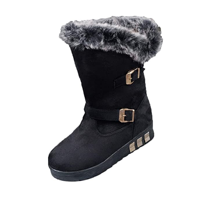 e932893b84a28 Amazon.com: Aurorax Women Winter Knee High Flat Snow Boots,Faux Fur ...