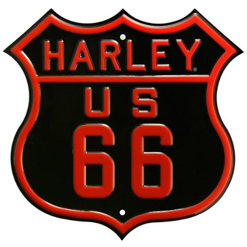 ハーレーダビッドソンルート66エンボス加工スチールStreet Sign B003HMX4QK