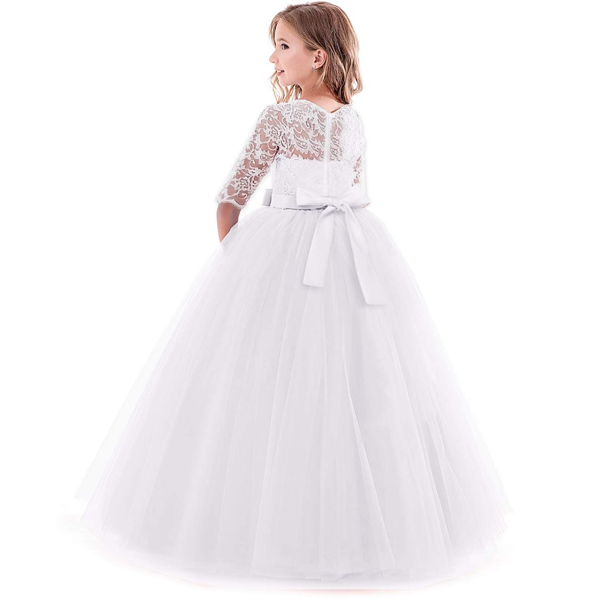 OBEEII Girls Party Princess Dress Half Sleeve Floral Lace Ball Gown for Pageant Ceremony Wedding Bridesmaid Communion Birthday Cocktail Evening Prom for Kids 2-14 Years