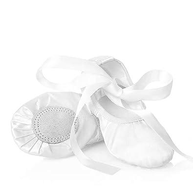 XJX Zapatillas de Ballet de satén para niñas con Suela ...